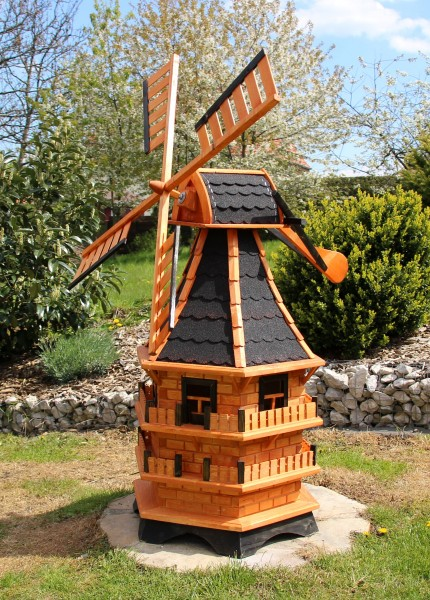 1,50 m XXL Holzwindmühle beleuchtet Typ 21