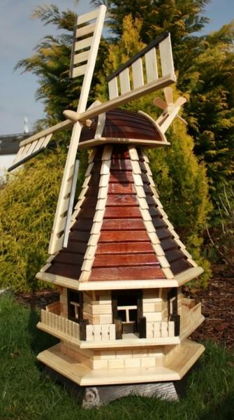 Supergroße Holzwindmühle braun/natur Typ 3