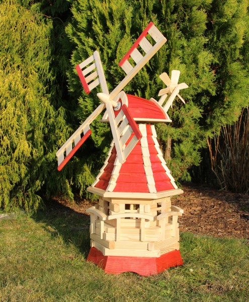 Holzwindmühle mit Solarlicht rot/natur Typ 16