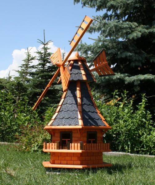 Gartenwindmühle mit Solarbeleuchtung und Windfahne Typ 6
