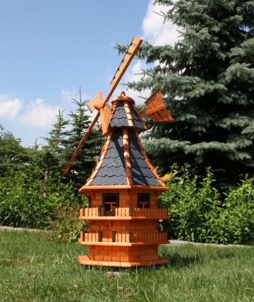 1,50 m XXL Holzwindmühle mit Solar Typ 14