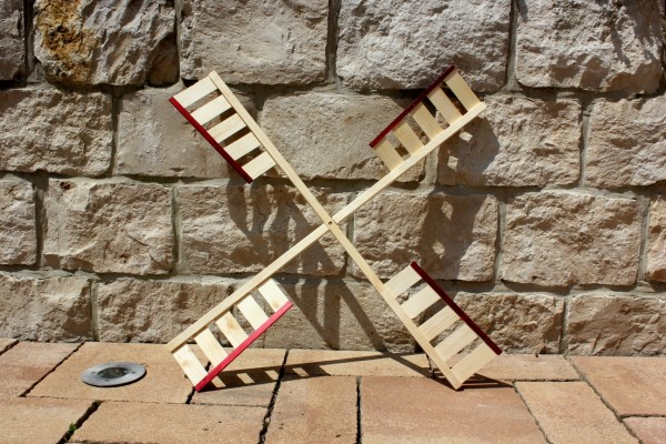 Windmühlenflügel rot/natur 100cm