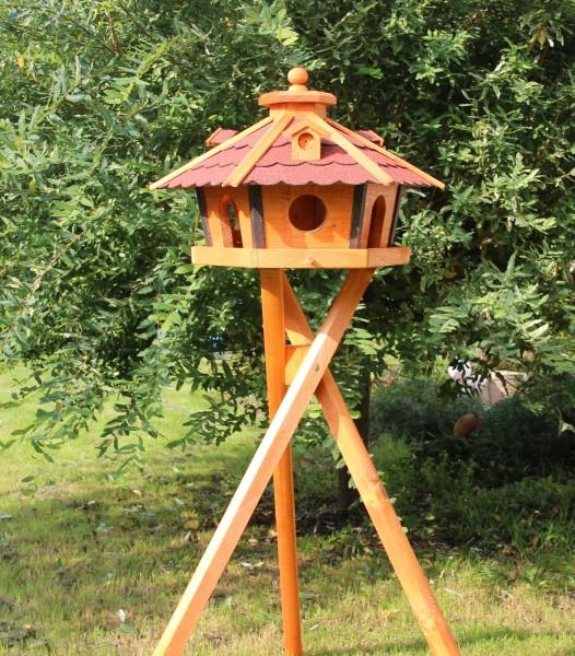 Großes Holzvogelhaus mit Ständer Typ 17