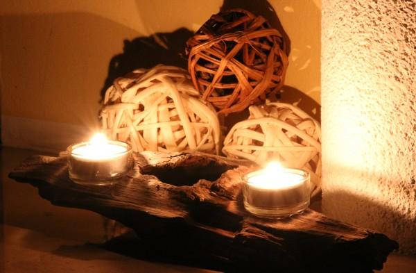 Mangrovenwurzel-Kerzenständer zweiflammig