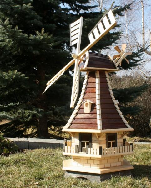 Echtholzwindmühle mit Solarbeleuchtung Typ 3.1