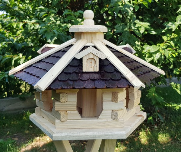 Vogelhaus mit Holzschindeln und Solar Typ 37