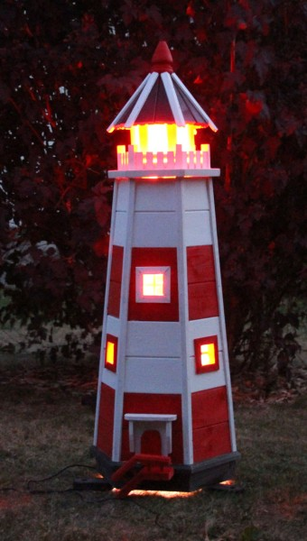 Leuchtturm Typ 1 rot/weiß mit Bunter LED Beleuchtung
