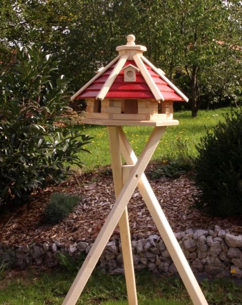 Holzvogelhäuschen mit Ständer und Solarbeleuchtung Typ 21