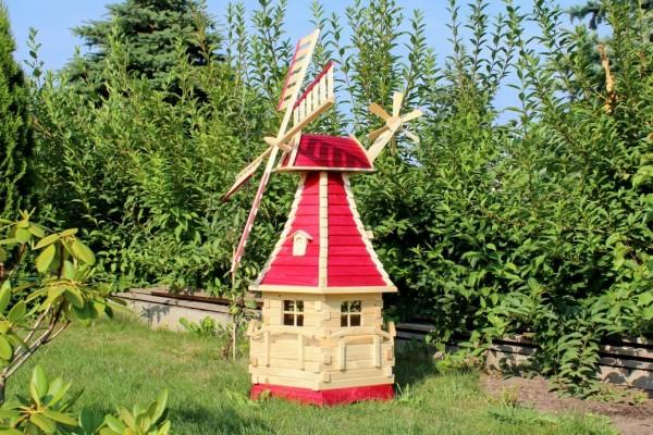 Echtholzwindmühle mit Solarbeleuchtung Typ 15.1
