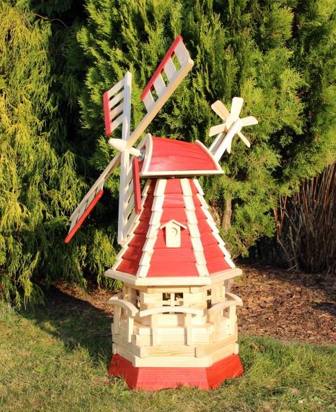 Holzwindmühle mit Dachgauben rot/natur Typ 16.1