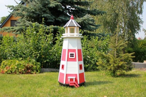 Leuchtturm mit Solarbeleuchtung Typ 1 rot/weiß