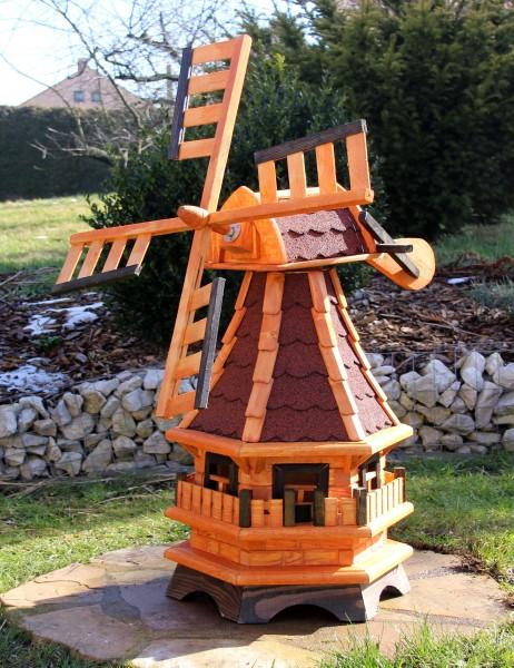 Holzwindmühle mit Solarlicht Typ 17